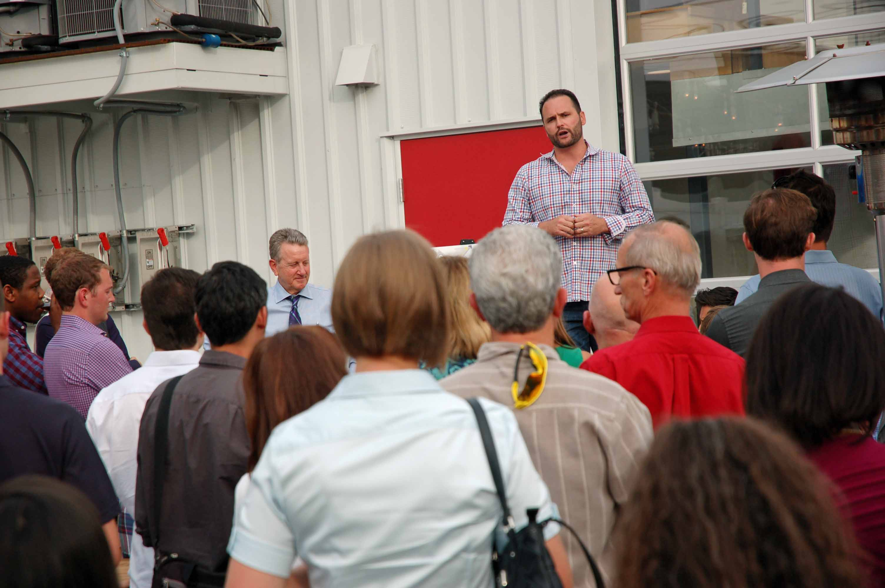 Mike Biselli addressed the guests at the Catalyst Land Announcement Party.