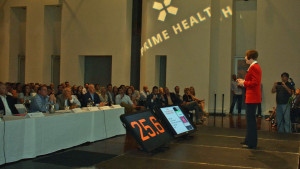 CEO of Radish Systems Dr. Theresa Szczurek answers questions from the panel of judges at the Digital Health Challenge.