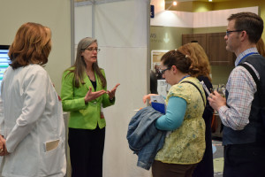 The conference's exhibition hall featured demonstrations of new healthcare innovations.