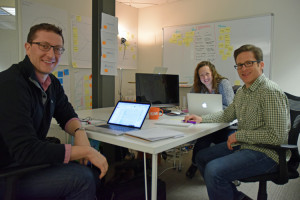 Members of the digital health startup Visible Hand, one of the four companies in Boomtown's first health-tech cohort.
