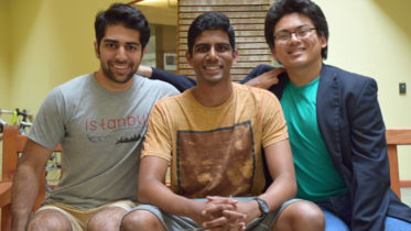 From left, Anup Singh, Eshwar Inapuri, and Ronald Angsiy of InnaMed, the first diagnostics company to be accepted into the Boomtown Health-Tech Accelerator.