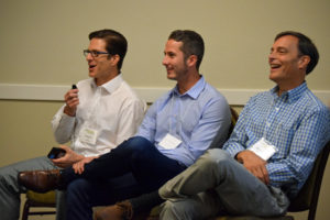 Matt Morris (left) participated in a panel discussion on the reimagining of aging earlier this month.