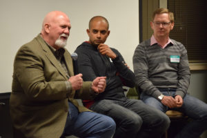 From left, Steve Adams, Nim Patel, and Dr. Kenneth Bellian.