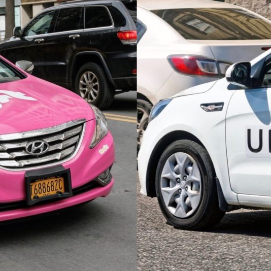 Picture of a Lyft and an Uber car.
